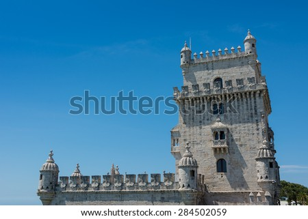 Belem Tower in Lisbon  Portugal against a blue sky