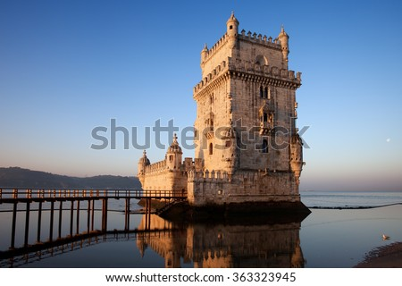 Belem Tower in Lisbon, Portugal, city landmark, 16th century fortification on tranquil morning at the Tagus (Tejo) river