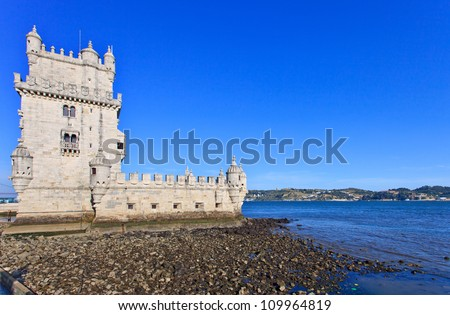 Belem Tower located in Tagus riverside in Lisbon, Portugal. Belem Tower is a Unesco World Heritage Site. - stock photo