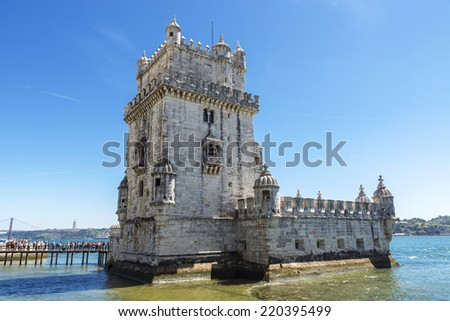 Belem Tower, Manueline style, located beside the Tagus River in Lisbon, Portugal