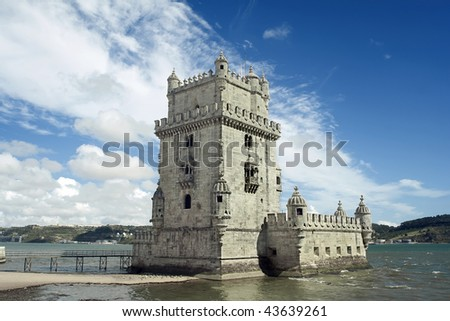 Belem Tower next to Tagus river in Lisbon - Classified by UNESCO as World Heritage Site.
