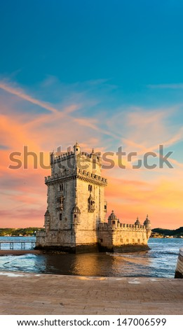 Belem Tower on a sunset, Lisbon, Portugal  - stock photo