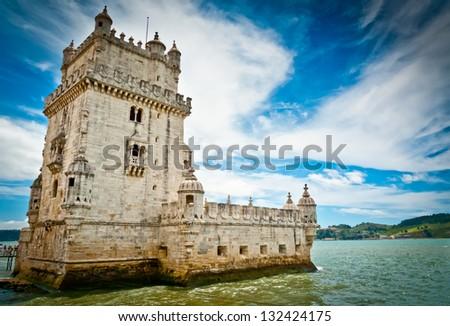 Belem tower on Tagus river, Belem, Lisbon, Portugal. UNESCO World Heritage Site. - stock photo