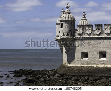 Belem tower on Tagus River, Lisbon Portugal - stock photo