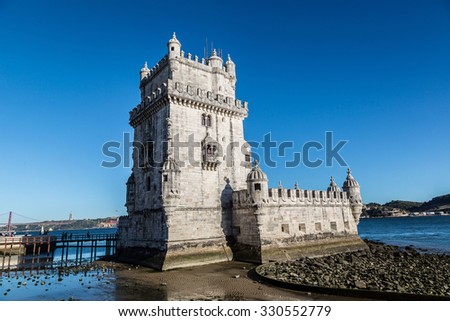 Belem Tower on the Tagus river in Lisbon, Portugal - stock photo