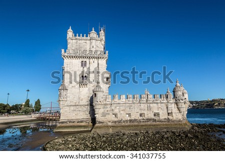 Belem Tower on the Tagus river in Lisbon, Portugal