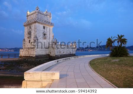 Belem Tower (Torre de Belem) at dusk. Lisbon, Portugal - stock photo