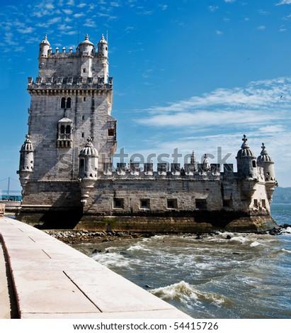Belem Tower (Torre de Belem) in Lisbon, Portugal - stock photo