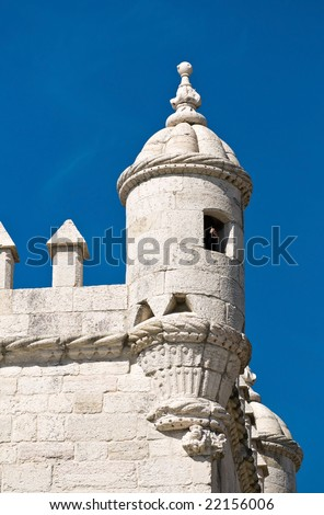 Belem Tower (Torre de Belem). Symbol of the city, listed in UNESCO World Heritage Site - stock photo