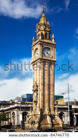 Belfast Clock  tower - Prince Albert Memorial Clock at Queen's Square in Belfast, Northern Ireland - stock photo
