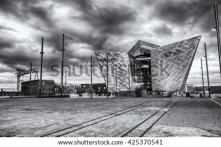 Belfast, County Antrim, Northern Ireland -May 19, 2016: Titanic Belfast, Museum and Visitor Center, one of Belfast's most iconic landmarks, on the site where Titanic was built. - stock photo