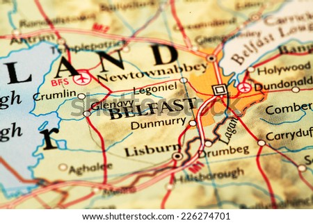 Belfast Ireland, on atlas world map - stock photo