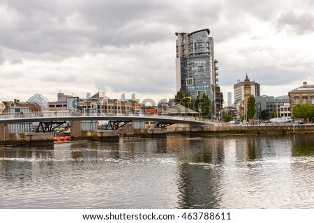 BELFAST, NI - JULY 14, 2016: Architecture on the coast of the river Lagan, Belfast, the capital and largest city of Northern Ireland