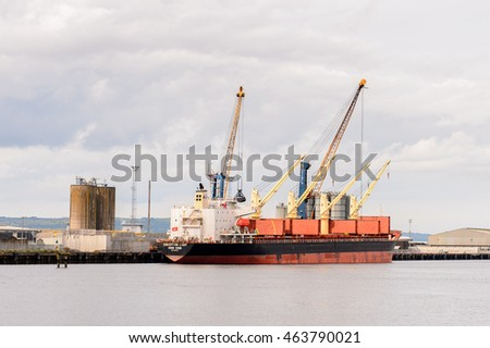 BELFAST, NI - JULY 14, 2016: Docks at the Titanic Quarter, Northern Ireland.  Belfast Harbour, known as Queen's Island until 1995
