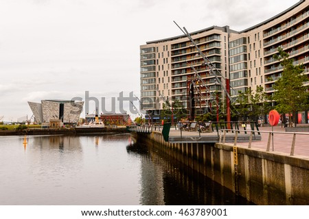 BELFAST, NI - JULY 14, 2016: Titanic Belfast Harbour, a major maritime hub in Northern Ireland known as Queen's Island until 1995