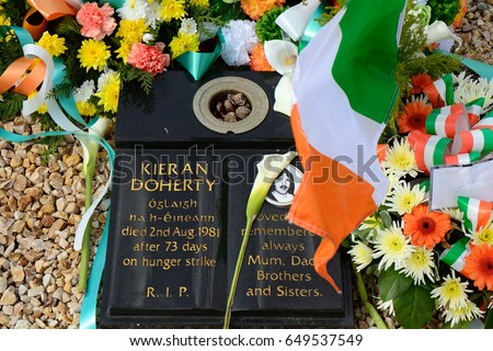 BELFAST, NORTHERN IRELAND - APRIL 24: Kieran Doherty's tomb in Milltown Cemetery 24 April, 2017 at Belfast. Kieran Doherty was one of the 1981 hunger strikers.