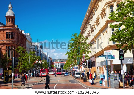 BELFAST, NORTHERN IRELAND - MAY 9, 2009:   General street view in Belfast - stock photo