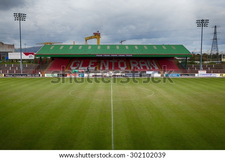 Belfast, Northern Ireland - September 24, 2014 : The Oval is a football stadium in Belfast, Northern Ireland, which has been home to Glentoran F.C. since 1892.