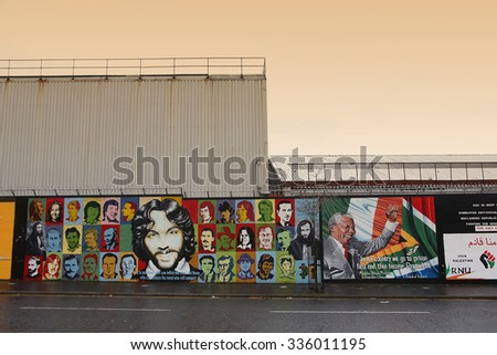 Belfast,Northern Ireland-5th November:  political republican mural in Northumberland Street.Belfast,Northern Ireland,UK on 5th November 2014 - stock photo