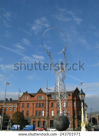 BELFAST, NORTHERN IRELAND, UK - SEPTEMBER 9, 2014. Beacon of Hope statue, or Thanksgiving Statue. Made by Andy Scott - stock photo