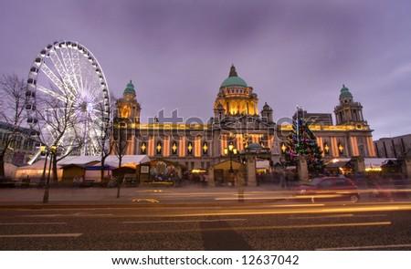 belfasts big eye and the city hall - stock photo
