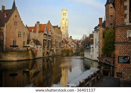 Belfort and canal in Bruges, Belgium