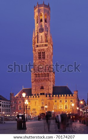 Belfry of Bruges at night - stock photo