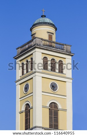 Belfry of Cathedral of Eger. The Cathedral or basilica of Eger - this is the third largest Catholic Church in Hungary. It was built between 1831 - 1837 in classicist designs by Joseph Hild. - stock photo