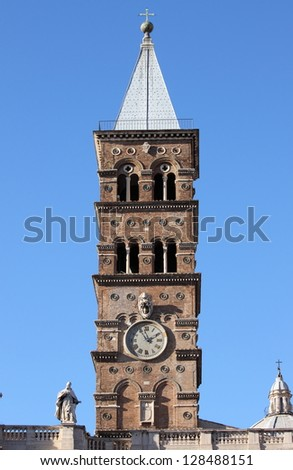 Belfry of Saint Mary Major Basilica in Rome, Italy - stock photo