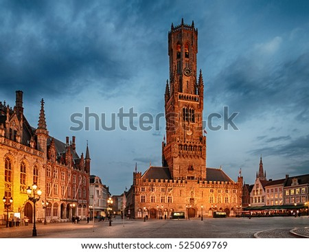 Belfry Tower  in historical center of Bruges at night, Belgium.