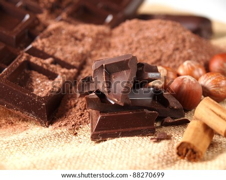 belgian chocolate bars, nuts and cocoa powder