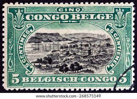 BELGIAN CONGO - CIRCA 1915: A stamp printed in Belgian Congo shows Port of Matadi, circa 1915. - stock photo