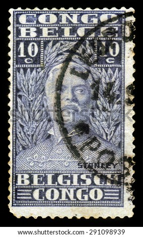 BELGIAN CONGO - CIRCA 1928: A stamp printed in Belgian Congo shows portrait of Sir Henry Morton Stanley, was a welsh journalist and explorer, circa 1928 - stock photo