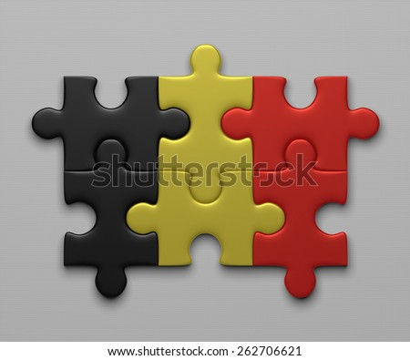 Belgian flag assembled of puzzle pieces on gray background - stock photo