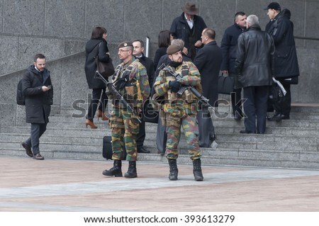 Belgian guards protecting the entrance of the European Parliament main building in Brussels (Bruxelles), Belgium. Brussels terror attacks stock photo. Stock image. January 2016 - stock photo