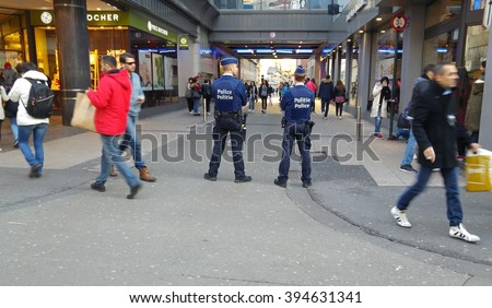 Belgian police patrol guard the center of Brussels (Bruxelles). Brussels jihad terror attack stock photo image. Belgium, January 2016 - stock photo
