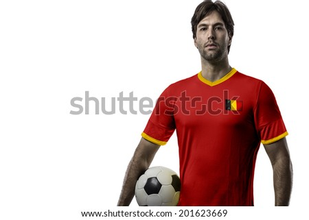 belgian soccer player, celebrating on a white background.