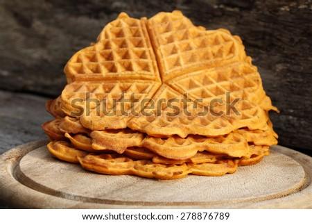 Belgian waffles in open air - stock photo