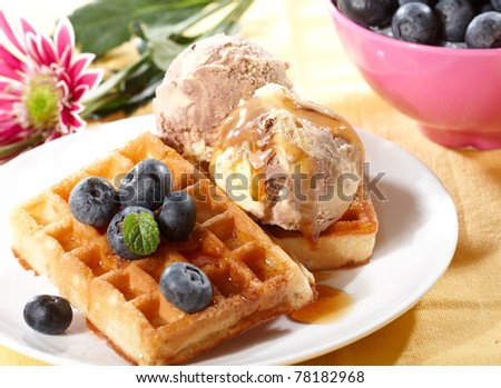 Belgian waffles with fresh blueberries, and ice cream on white - stock photo