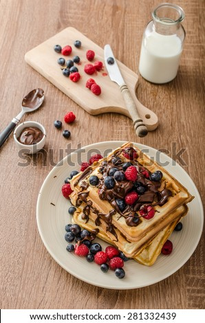 Belgian waffles with fruit and chocolate, forest fruit, all homemade, delicious batter - stock photo