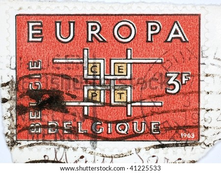 "BELGIUM - 1963: A stamp printed in Belgium shows ""Europa"", series, 1963"