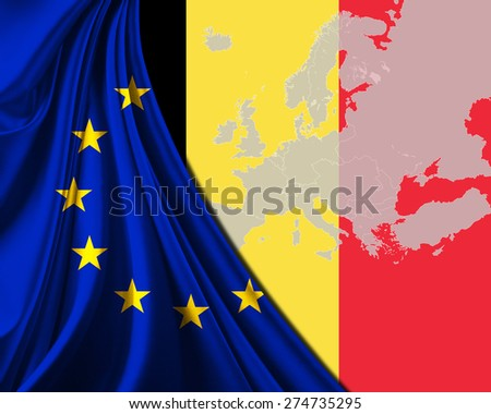 Belgium and European Union Flag with Europe map background - stock photo