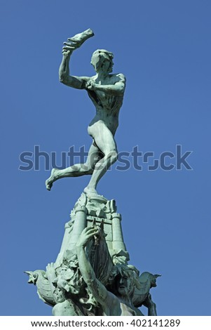 Belgium,Antwerp, March 17, 2016, Statue of Silvius Brabo throwing the hand of the giant Antigoon on the Grote Markt