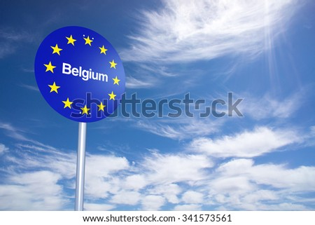 Belgium Border Sign with clouds sky. 3D Rendering - stock photo