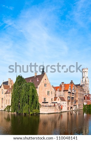 Belgium. Bruges, the old town. View of the embankment. - stock photo
