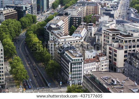 Belgium - Brussels from high view streets and houses 5