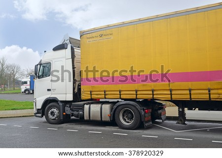 Belgium, central Europe, February, 13, 2016: trucks on a parking in Belgium, Europe