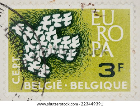 BELGIUM - CIRCA 1961: A Cancelled postage stamp from Belgium illustrating Europe, issued in 1961.