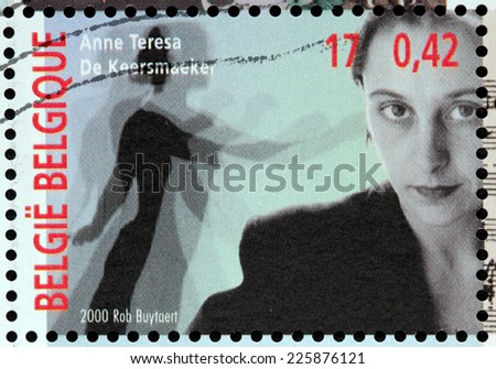 BELGIUM - CIRCA 2000: A stamp printed by BELGIUM shows image portrait of Anne Teresa, Baroness De Keersmaeker - one of the most prominent choreographers in contemporary dance, circa 2000. - stock photo