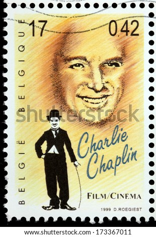 "BELGIUM - CIRCA 1999: a stamp printed by BELGIUM shows image portrait of famous British comic actor and filmmaker Sir Charles Spencer ""Charlie"" Chaplin, circa 1999. - stock photo"